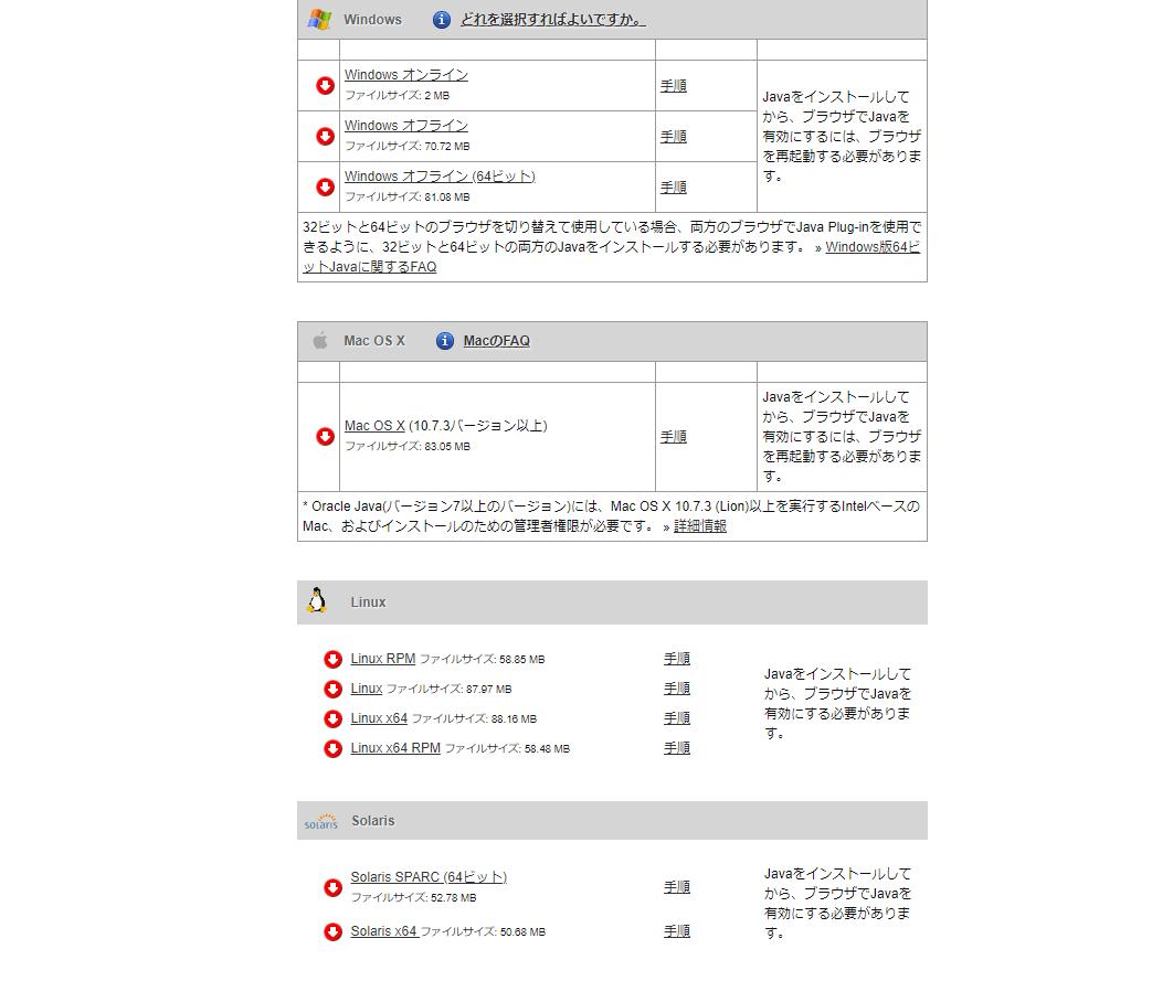 Javaのダウンロード